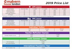 Malvern House London 2019 pricelist